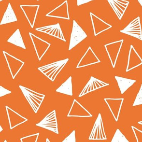 Hand Drawn Triangles - Tangelo Orange by Andrea Lauren