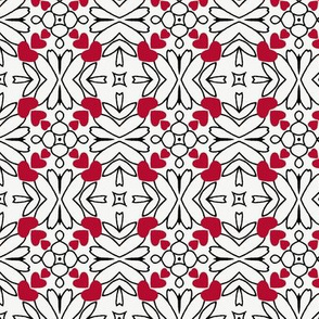 Hearts and Flowers in Red and White