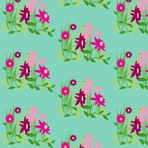 Danita's Pink Flowers on Sky Blue