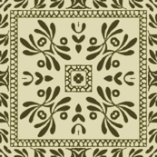 Decorative Floral Tiles in Greens