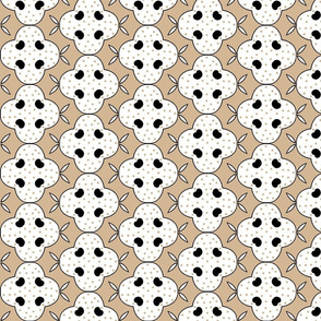 Stylized Floral in Tan and White