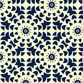 Blue Floral on White