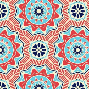 Red and Blue Floral Over White