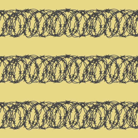 Barbed Wire on Pale Yellow
