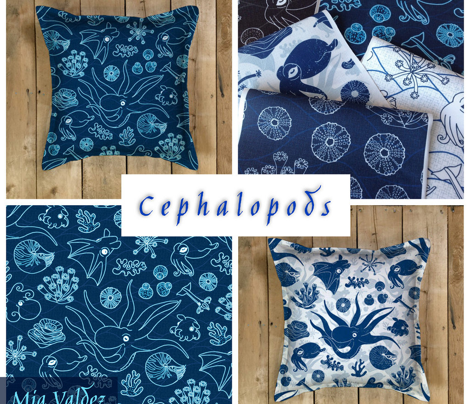 Cephalopods Blue Grunge