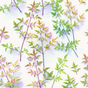 Bright Light Painted Leaf Pattern