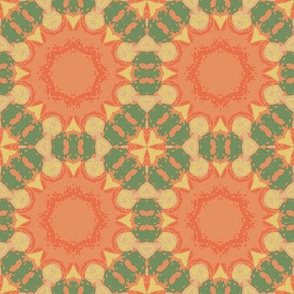 Orange and Green Floral Geometric
