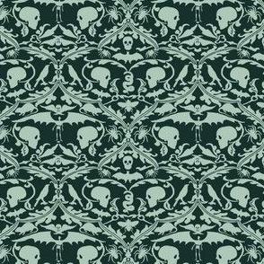 Skull Damask Green