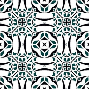 Modern Tribal Geometric in Green and White
