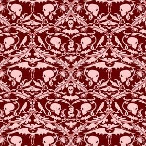 Skull Damask Red