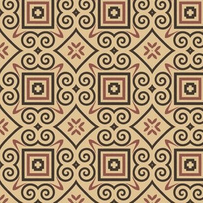 Traditional Geometric in Pink, Tan and Dark Gray