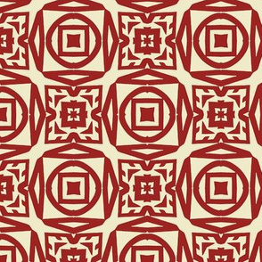 Red and White Abstract Checkerboard