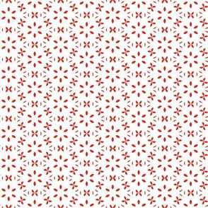 Tiny Red Floral Circles Over White