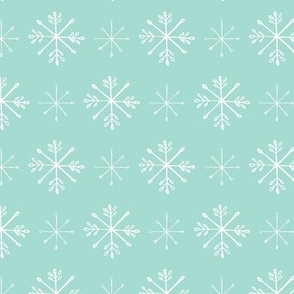 Snowflake Sketches on Aqua