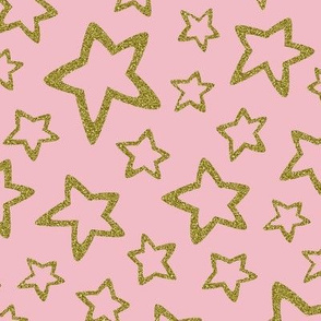 Gold Glitter Stars on Pink
