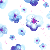 Colorful tropical watercolors flower blossom in blue and pink