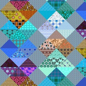 Patchwork Hearts Aqua and Brown, half drop