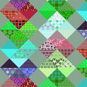Patchwork Hearts Green and Pink, Half drop