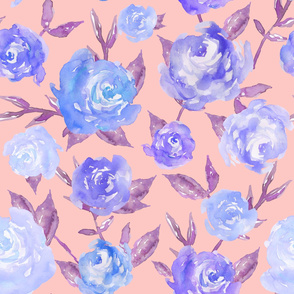 Blue and Pink Watercolor Peonies