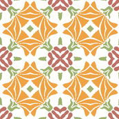 Abstract Floral in Pink, White, Green and Orange