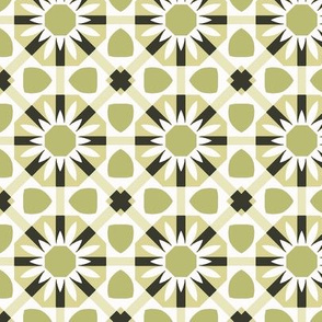 Stylized Floral in Greens and White