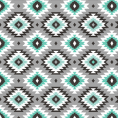 Aztec on Grey in Mint Green