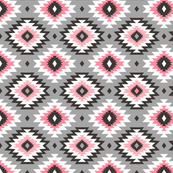 Aztec on Grey in Pink