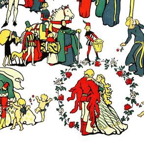 Medieval Storybook Romance Toile ~ White Horizontal Border Print