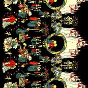 Medieval Storybook Romance Toile Border Print ~ Black