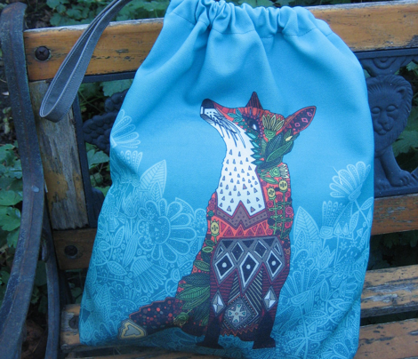 ice floral fox drawstring gift bag kit