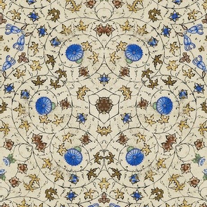 Medieval Kaleidoscope 4 - Blue Flowers and Vines