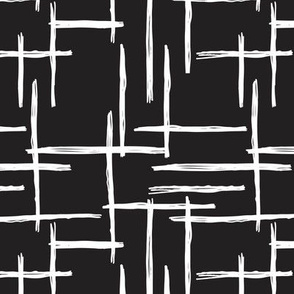 Abstract geometric black and white checkered stripe stroke and lines trend pattern grid