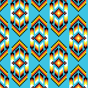 Native American Digital Bead Pattern Turquoise