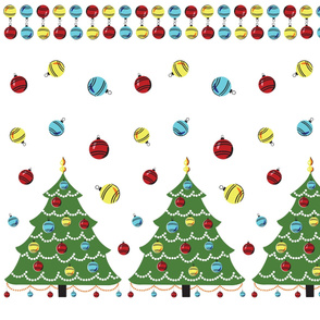 Vintage Christmas Tree Border