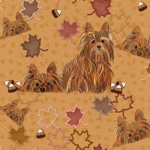 Yorkie Autumn Leaves Falllng - Large Print