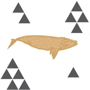 Geometric Whale in Gold