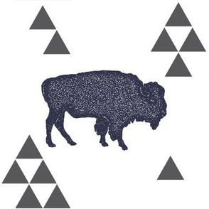 Geometric Buffalo in Navy