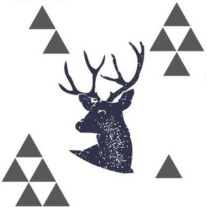 Geometric Deer in Navy