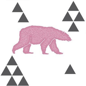 Geometric Bear in Pink