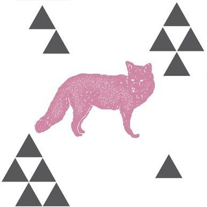 Geometric Fox in Pink