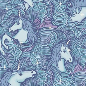 Drowning Unicorns in blue