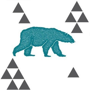 Geometric Bear in Teal