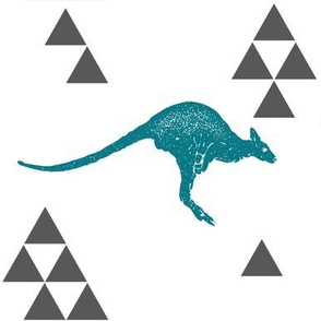 Geometric Kangaroo in Teal
