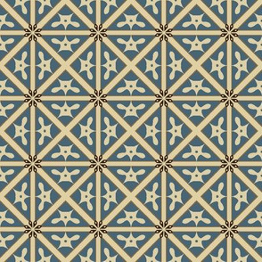Diamond Grid in Blue and White