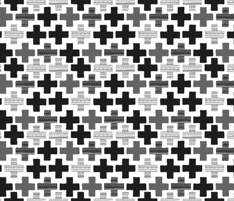 Plus plus cross geometric modern patterns black and white for Modern patterns black and white