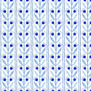 Blue Floral Vine Stripe