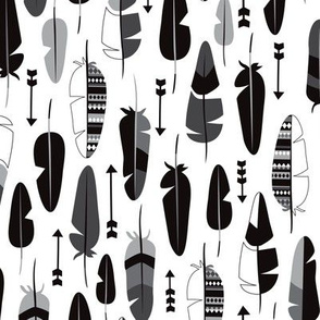 Geometric vintage feathers pastel arrows in black and white illustration pattern