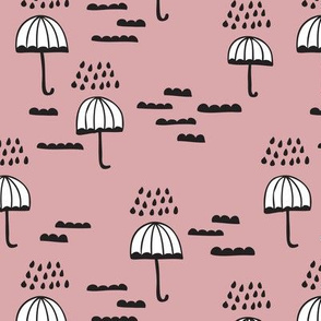 Umbrella rainy day cloudy sky clouds illustration scandinavian style illustration print in vintage pink