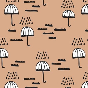 Umbrella rainy day cloudy sky clouds illustration scandinavian style illustration print winter beige brown