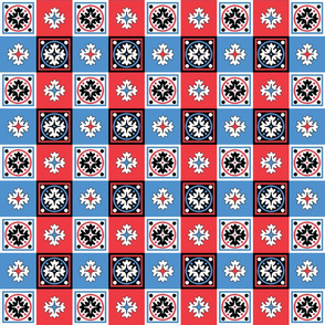 RED WHITE AND BLUE TILE